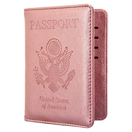 c424849aa228 Kandouren RFID Blocking Passport Holder Cover Case,travel luggage passport  wallet made with Rose Gold PU Leather for Men & Women