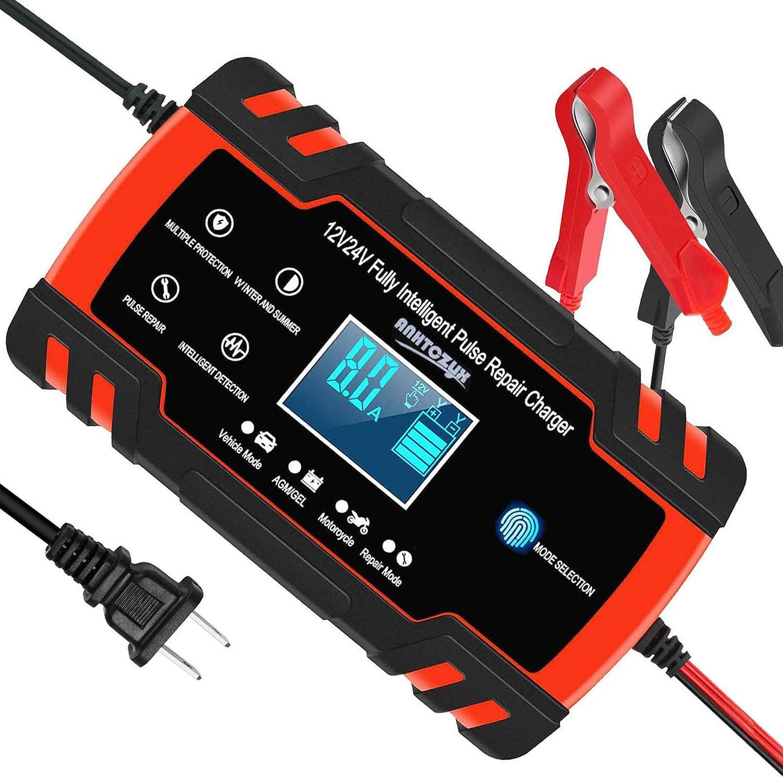 Automotive Battery Charger 12V/8A 24V/4A Trickle Charger Smart Automatic Battery Charger for Cars, RVs