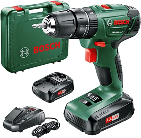 Bosch 06039A3371 PSB 1800 LI-2 Cordless Combi Drill with Two 18 V Lithium-Ion Batteries, Green: Amazon.co.uk: DIY & Tools