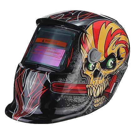 MASUNN Rojo Cráneo Solar Auto Oscurecimiento Soldadura Casco TIG Mig Soldar Lente Soldador Máscara