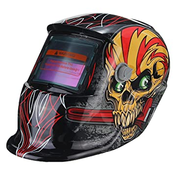KUNSE Cráneo Rojo Solar Auto Oscurecimiento Soldadura TIG Mig Soldadura Soldador Lentes Máscara De Casco: Amazon.es: Hogar