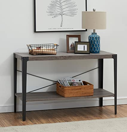 Exceptionnel Ou0026K Furniture 2 Tier Industrial Sofa Table, Metal Hall Console Table With  Storage Shelf