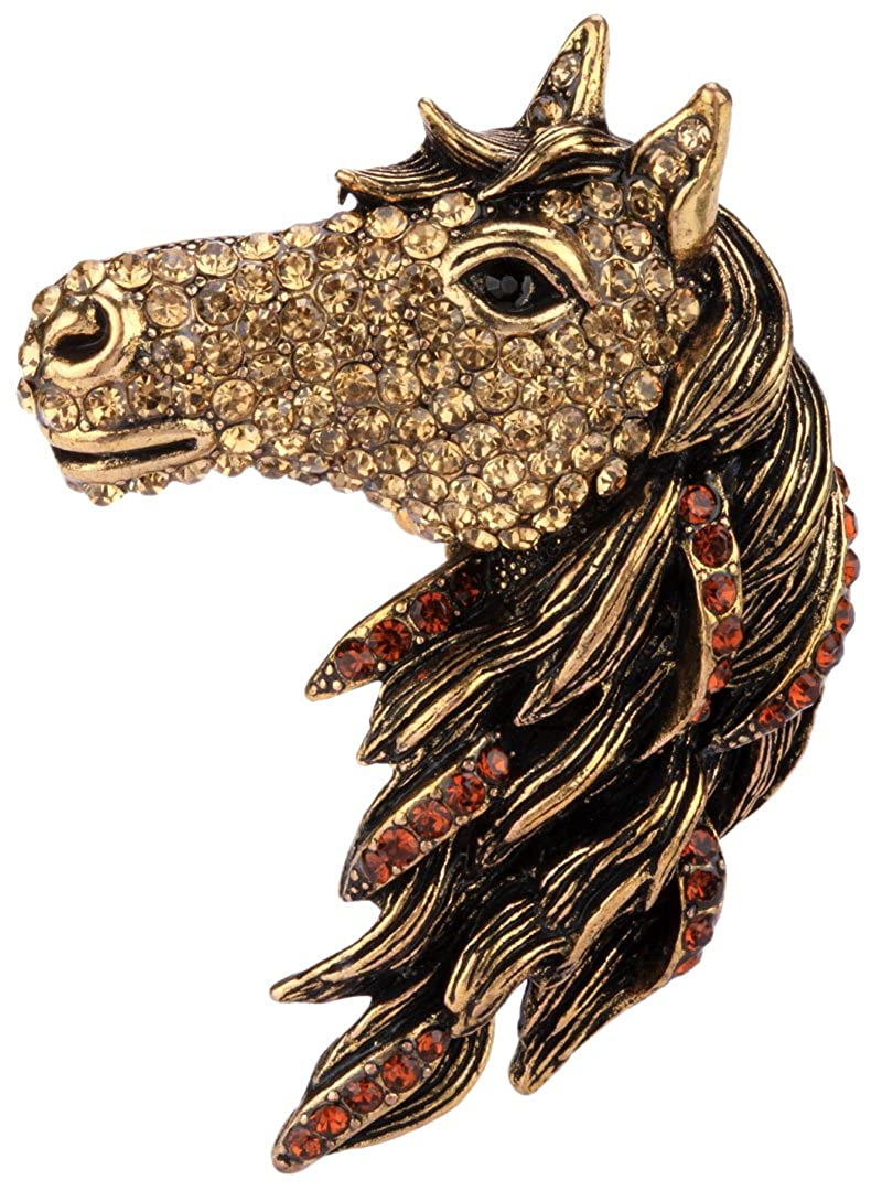 Angel Jewelry Womens Crystal Big Horse Brooch Pendant