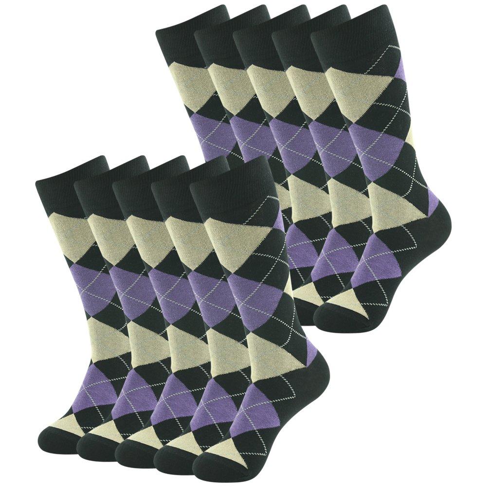 Wedding Groomsmen Socks, SUTTOS Mens Crazy Wonder Funky Colorful Black Purple Argyle Nordic Socks Patterned Casual Crew Dress Suit Office Business Sock Summer Moisture wicking Socks Back to School Gift,6 Pairs