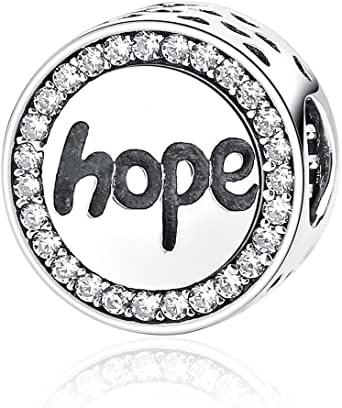 Beauty Hope Charm 925 Sterling Silver White Crystal Hopeful Bead for Bracelet or Necklace