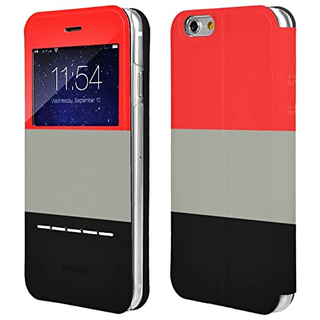 detailed look 16b24 bec1b AirPlus Tri-Colour Leather Flip Case/Cover For iPhone 6s Plus/6 Plus  (Red-Grey-Black)