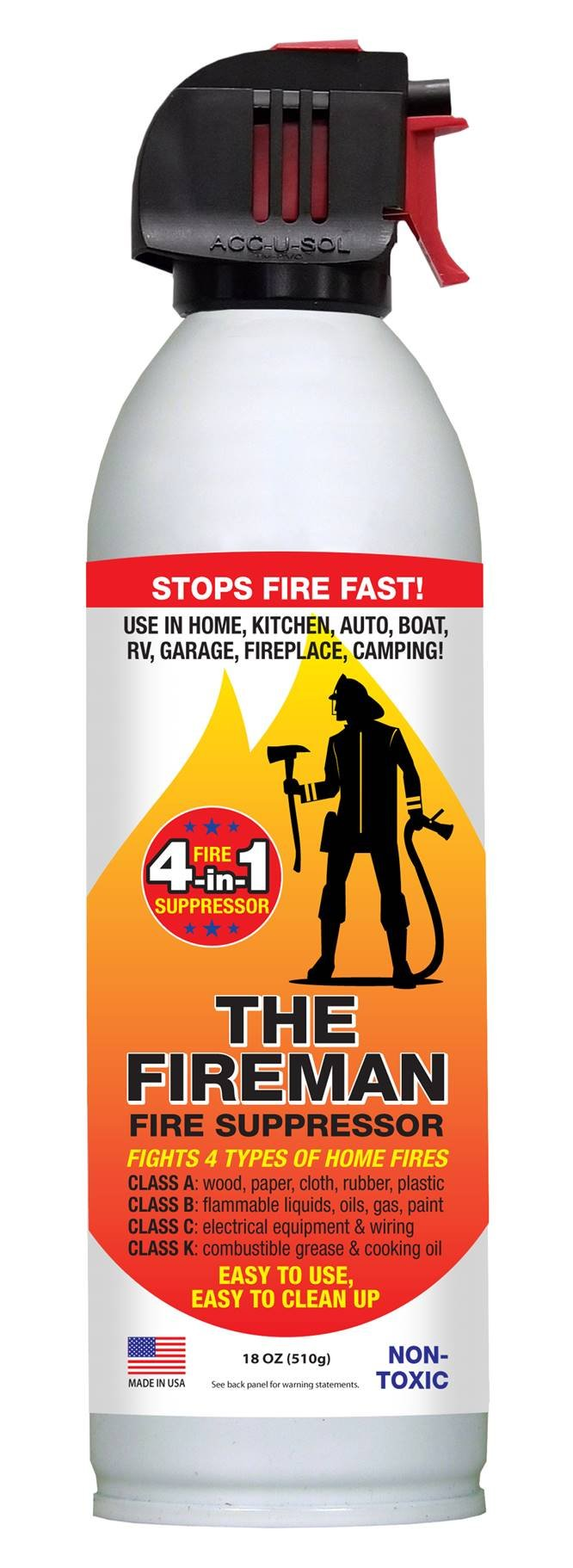 THE FIREMAN - UL APPROVED Multi-Purpose Fire Extinguishing Suppressant Spray - Fights ALL 4 Common Fires: Wood, Gasoline, Electrical Equipment and Grease/Fat Fires (Class A,B,C & K) - 18 oz. (1 Pack)