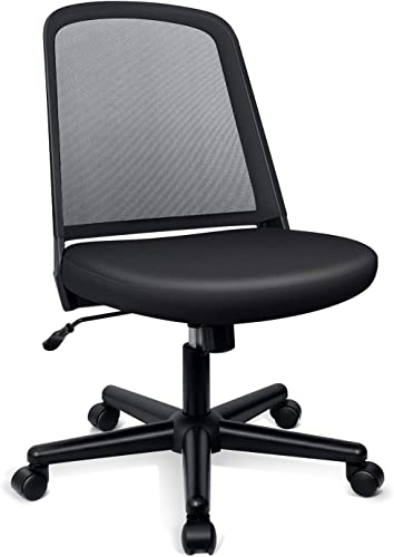 Funria Mid Back Mesh Office Chair Armless Black Swivel Ergonomic Task Office Chair