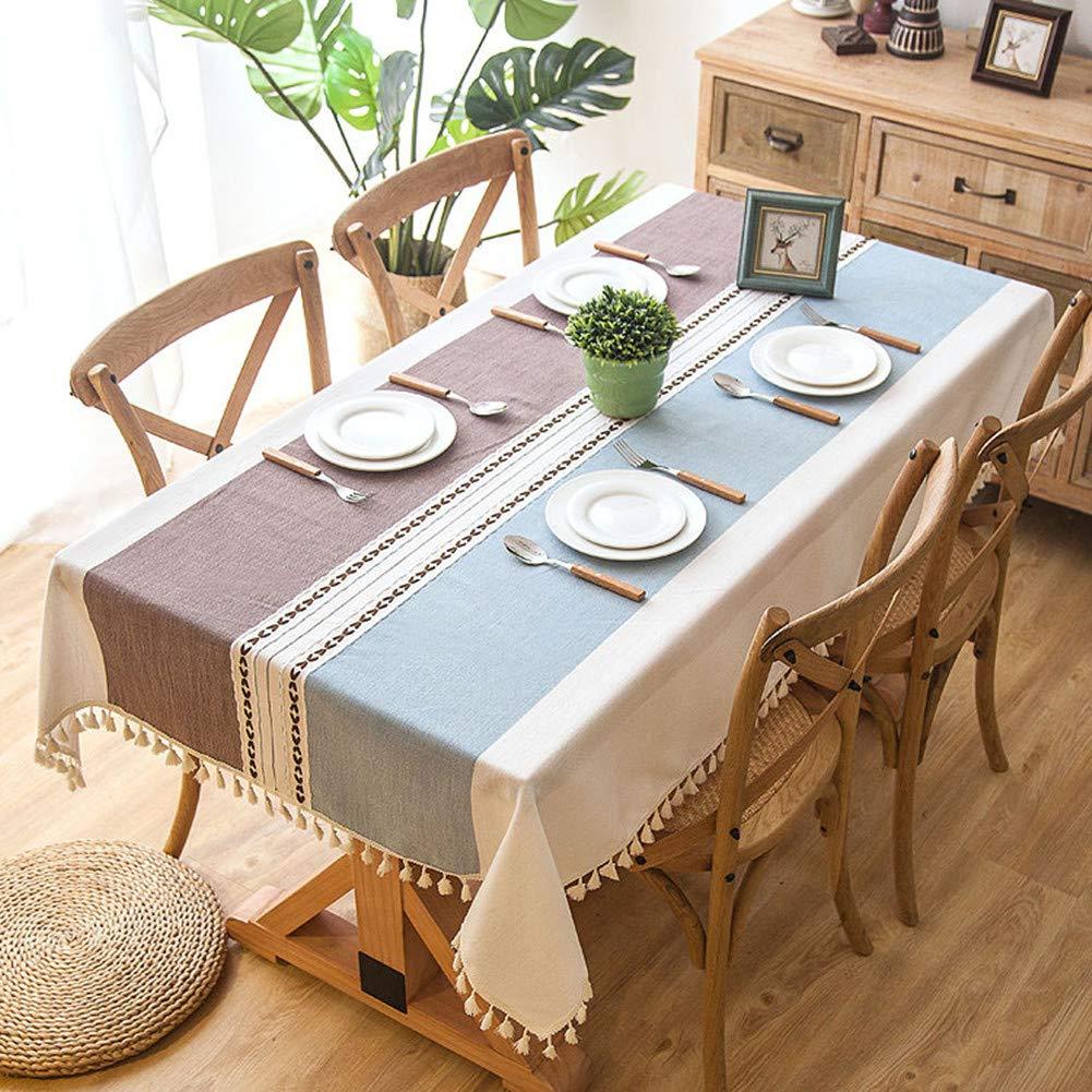 , Cachi 140x140cm Wondder Tovaglie Pizzo di Stoffa di Cotone e Lino per la Copertura del Tavolo da Pranzo per Banchetti 55x55inch