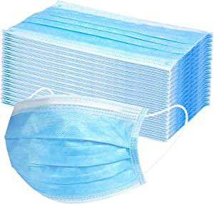 Zosakonc Disposable Earloop Face Mask,Thick 3-Ply Medical Masks with Elastic Ear Loop,Breathable Non-woven Dust Filter Face Mask, Breathable and Comfortable for Dust, Pollen Allergens(50PCS) (ZSH09)