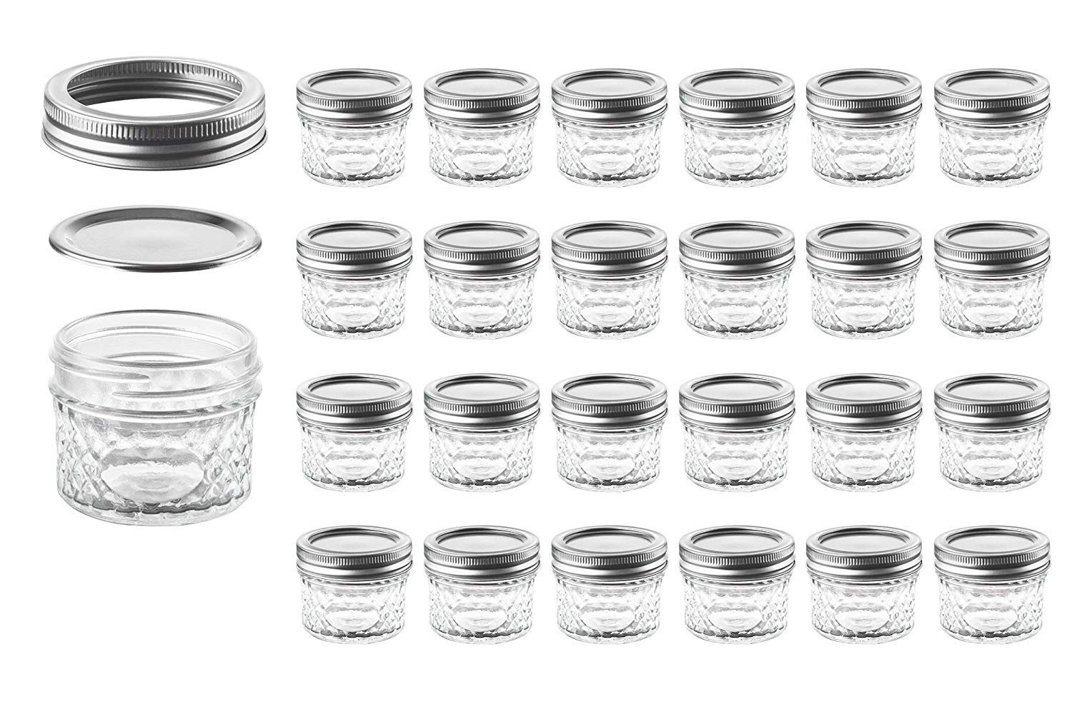 Mason Jars with Glass Lids 4 oz - Nellam Small Canning Jelly Jar Wide Mouth in Quilted Crystal for Airtight Kitchen Storage, Baby Food, Party Favors - Freezer & Microwave Safe - Set of 24, Silver