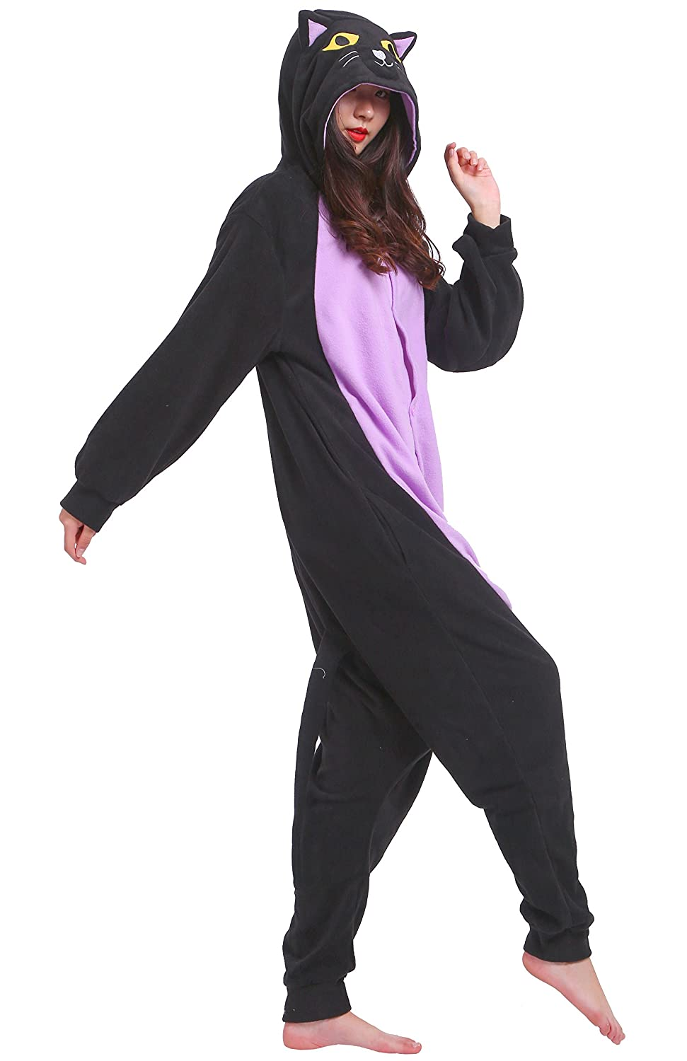Amazon.com: Taigood Unisex Adult Animal Pajamas Plush One Piece Cosplay Midnight Cat (140-187cm): Clothing