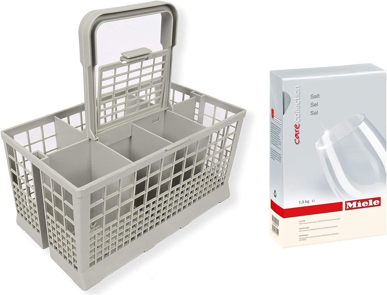 "Appliance Pros Universal Dishwasher Cutlery Basket (9.45"" x 5.5""x 4.7"") and Miele Care Collection Dishwasher Reactivation Salt 3.3lbs / 1.5kg (BUNDLED VALUEPACK)"