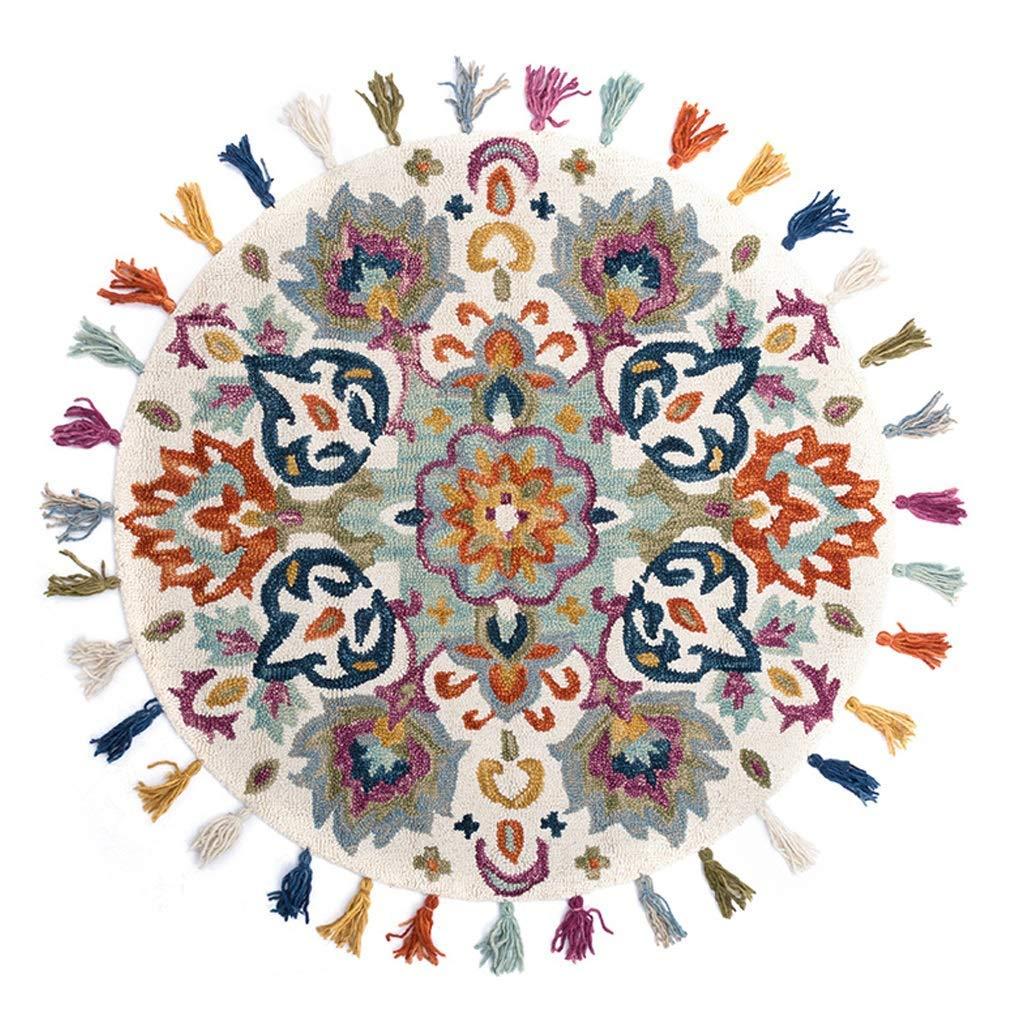 敷物敷物北欧ラウンドカーペットエスニックウィンドウール手織りタッセルレースマット子供用ルームホームホワイエマット(サイズ:1.5m) 1.5m  B07SM4X2X1