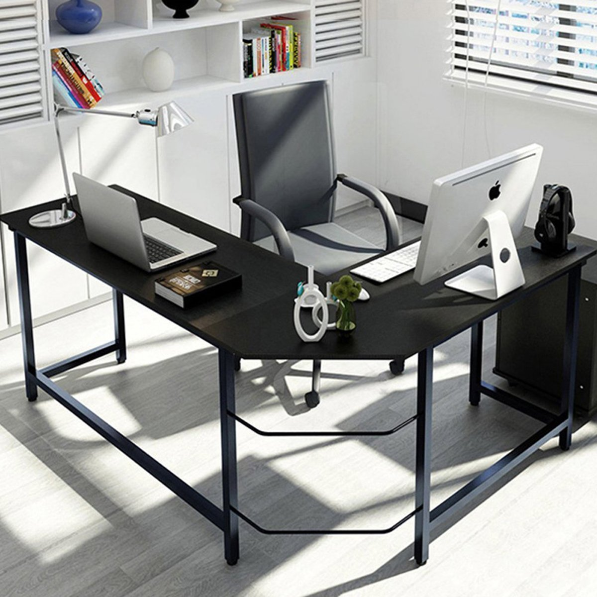 "Leve 66""x 50"" Home Office L-Shaped Desk Corner Computer"
