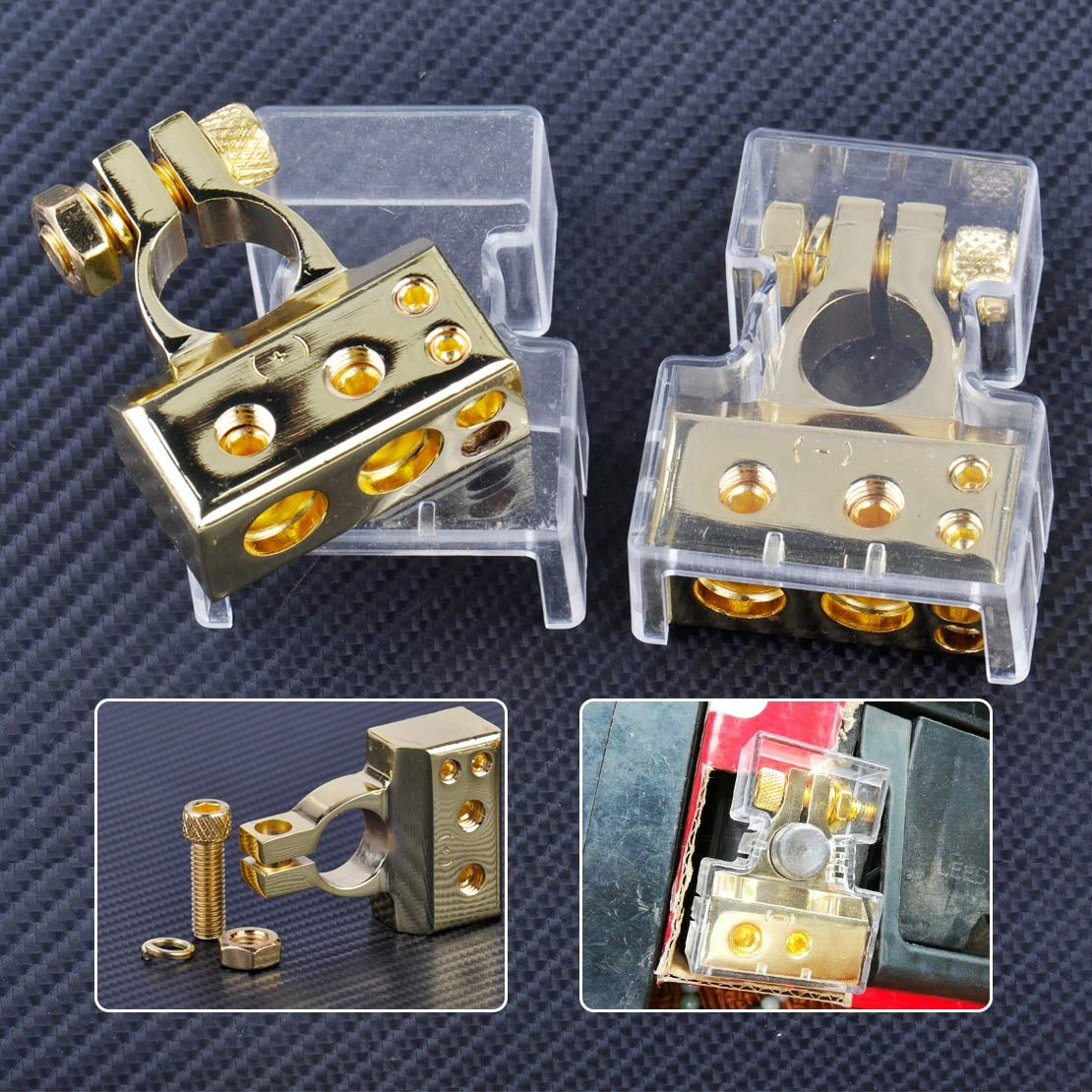 2pcs Gold zinc alloy 2 4 8 Gauge AWG 12V Positive & Negative Car Battery Terminal Clamp Connector with Cover by HUYNH TRUNG LIEM