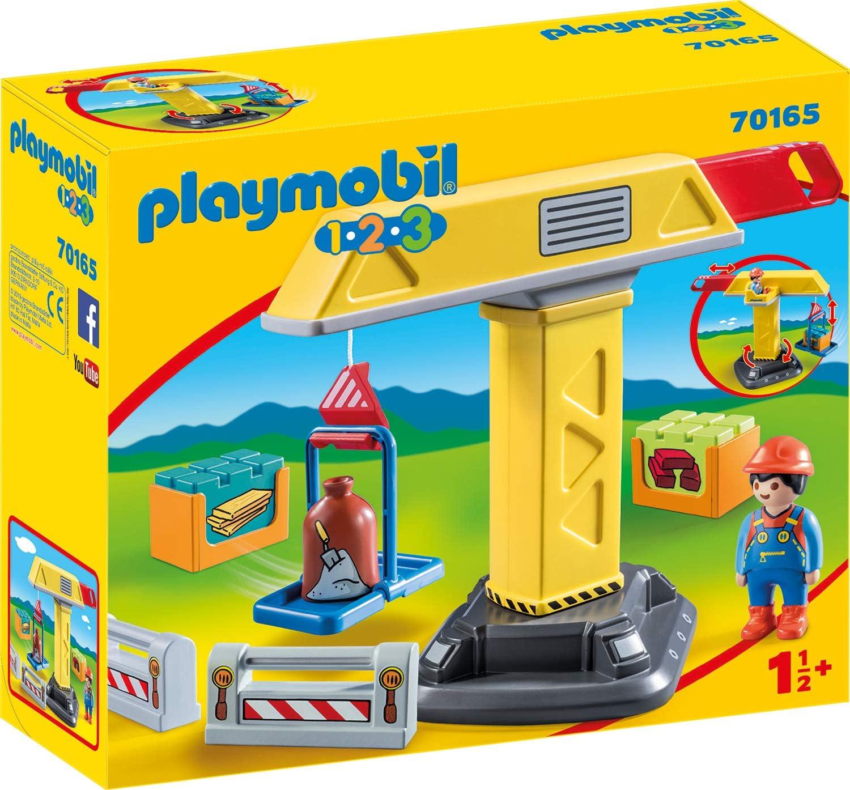PLAYMOBIL PLAYMOBIL-70165 1.2.3 Grua construcción, Multicolor, Talla única (70165)