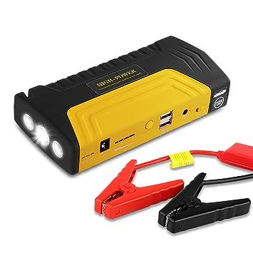 Arrancador de Coche de 16800 mAh, YOKKAO, Jump starter Cargador para Baterías de 12V y Cargador de 12V, 16V y 19V, Batería Externa con Luces de ...