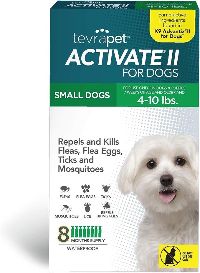 TevraPet Activate II Prevención de pulgas y garrapatas para perros - 8 meses de tratamiento y control tópico de pulgas y garrapatas (pequeño)