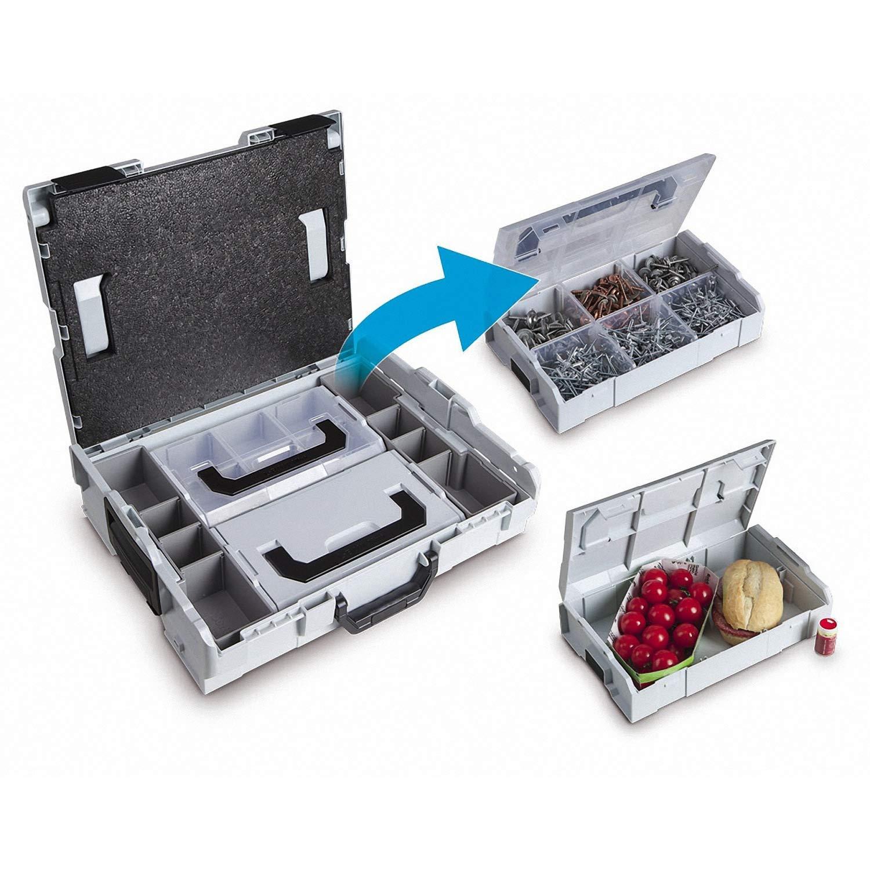 L-BOX Mini Set Scatola Assortimento Vite e Tassello Prima Classe Cofanetti Assortimento per Piccole Parti 3x L Boxx Mini Rosso con Coperchio Trasparente