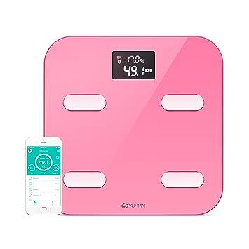 YUNMAI Escala corporal-Báscula de baño Bluetooth con 10 estatus corporal (incluyendo grasa corporal), Aplicación gratuita (iOS y Android),Rosa: Amazon.es: ...