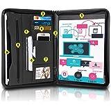 ROCONTRIP Portfolio with Handle Personal Organizer Travel Padfolio Briefcase Zippered Closure, Black
