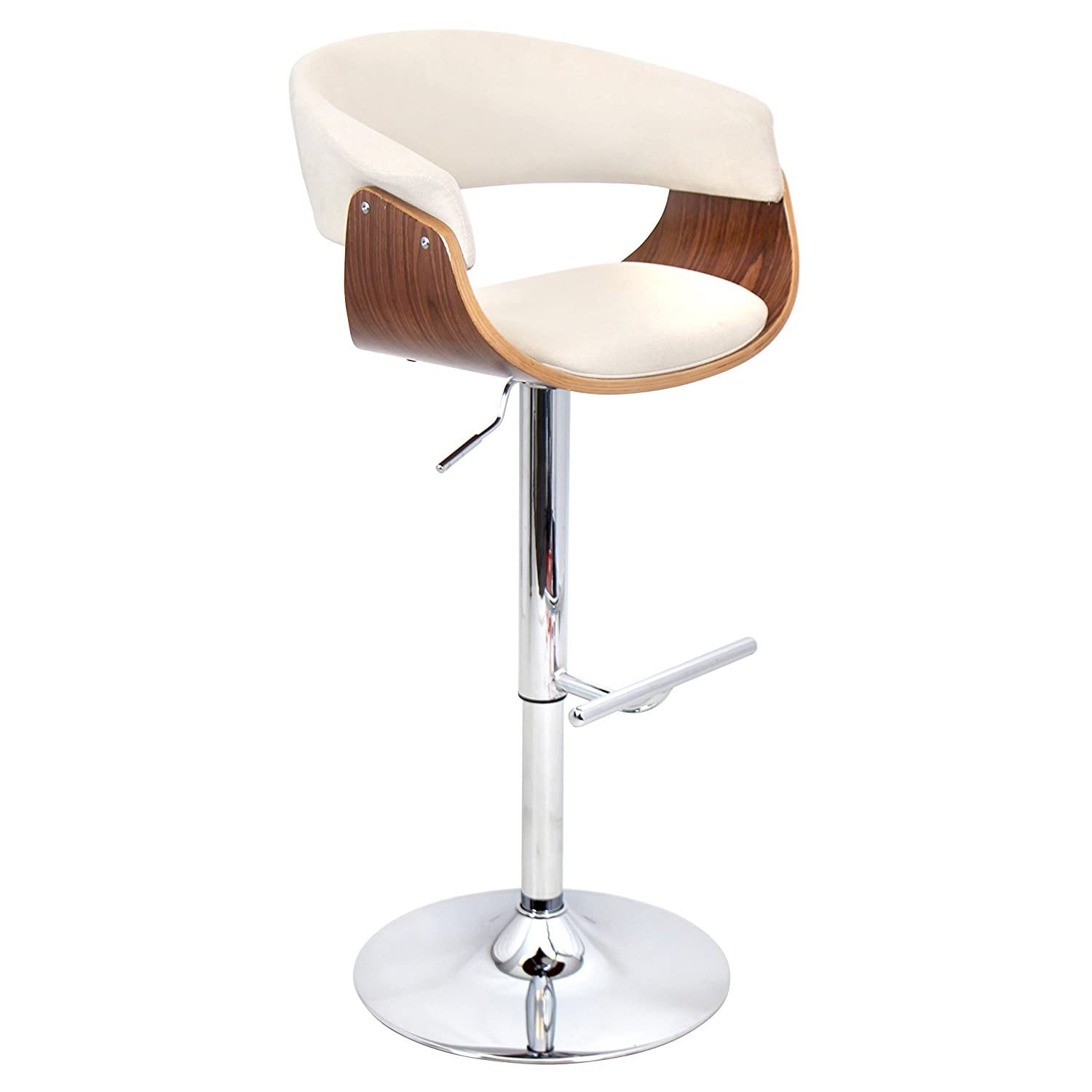 WOYBR Polyester Fabric, Bent Wood Vintage Mod Barstool, 42.75 x 23.25 x 17.5 , Walnut Cream