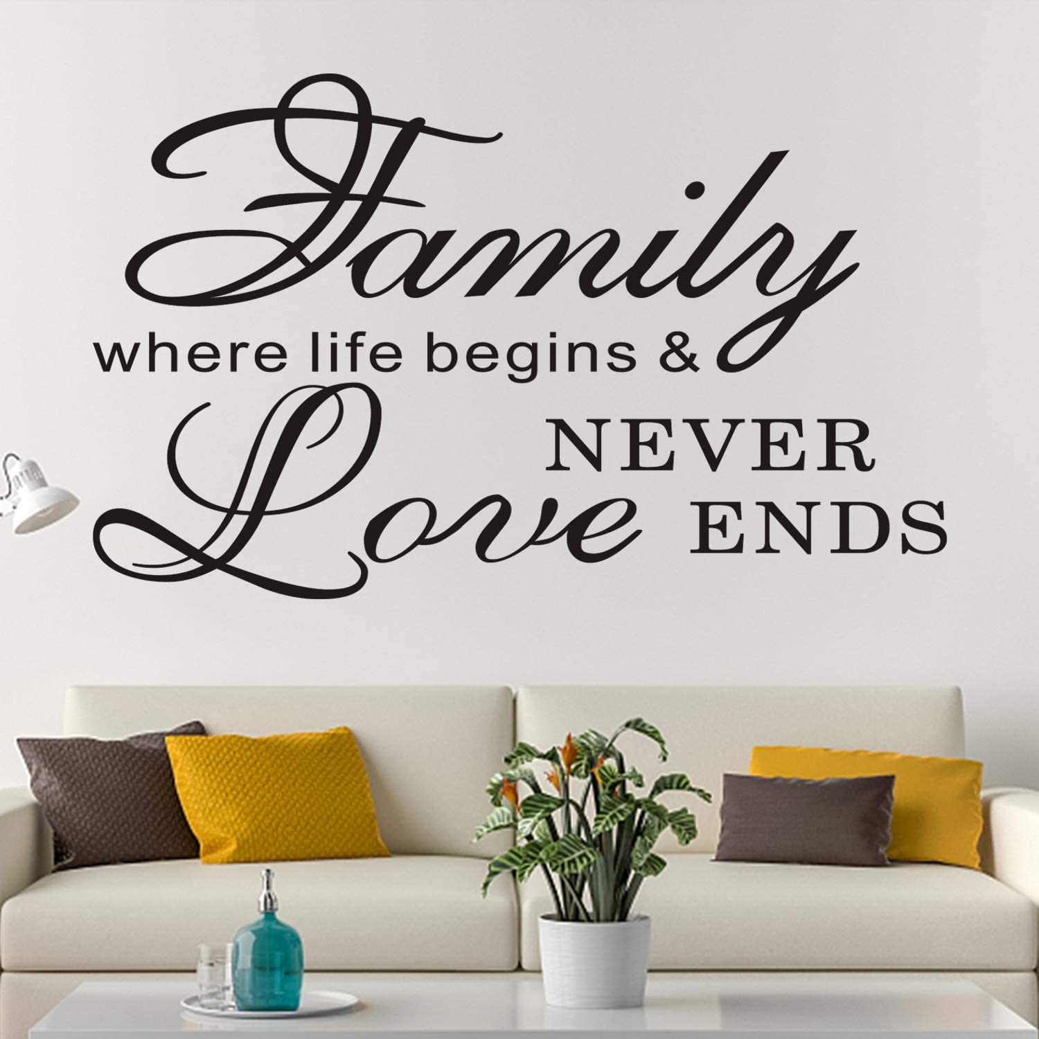 Amazon Com Anfigure Wall Decals For Living Room Family Wall Decals Quote Home Couple Romantic Live Inspirational Bedroom Saying Art Decor Vinyl Stickers Family Where Life Begins And Love Never Ends 26 X