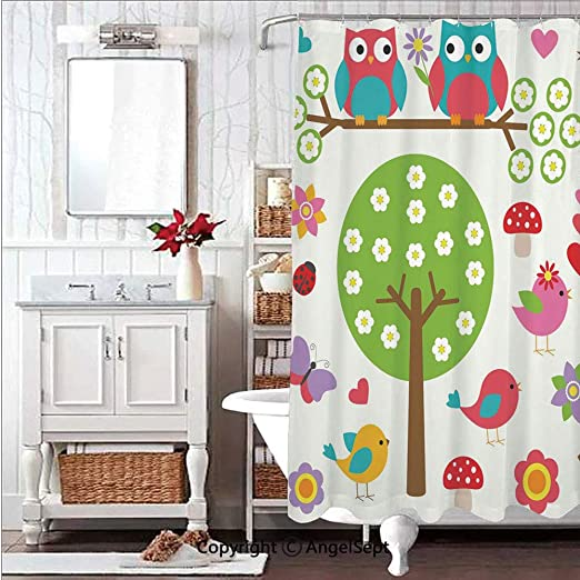 Painted owl Shower Curtain Bathroom Decor Fabric /& 12hooks 71x71in