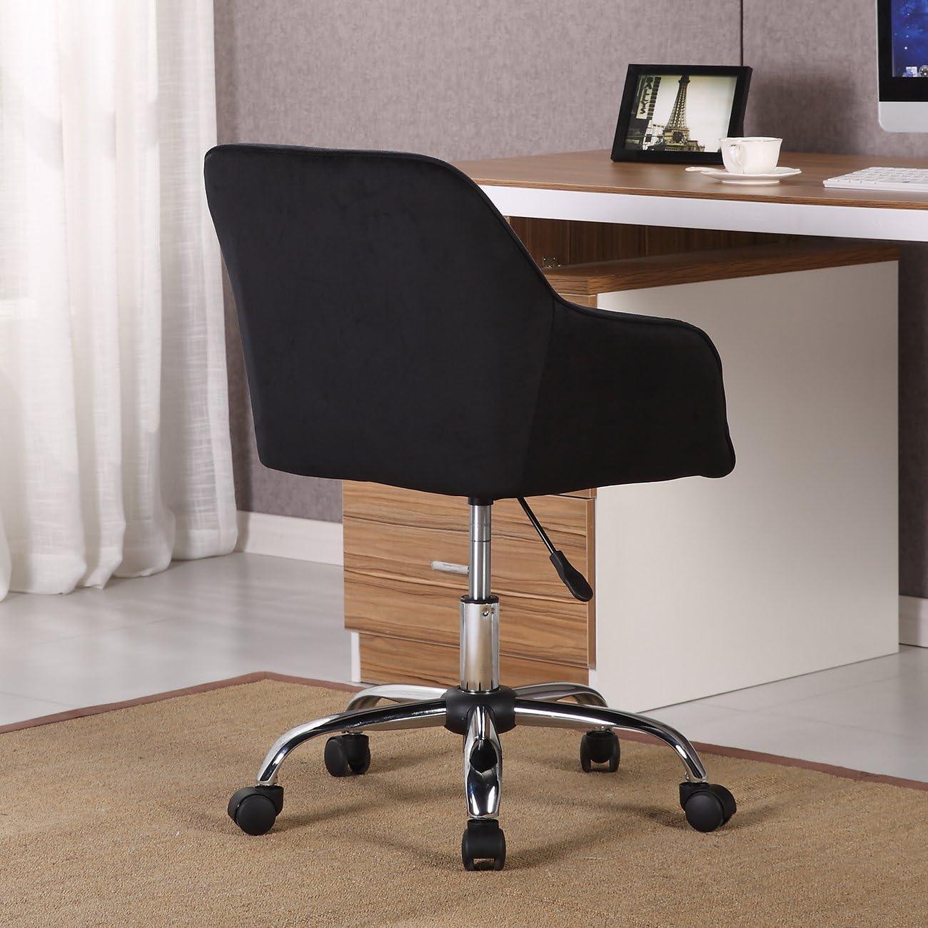 BELLEZE Modern Office Chair Mid-Back Task Home Desk Adjustable Swivel Height Velvet, Black