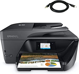 HP OfficeJet Pro 6978 All-in-One Wireless Printer, HP Instant Ink, Works with Alexa (T0F29A) with Tivdio USB Printer Cable
