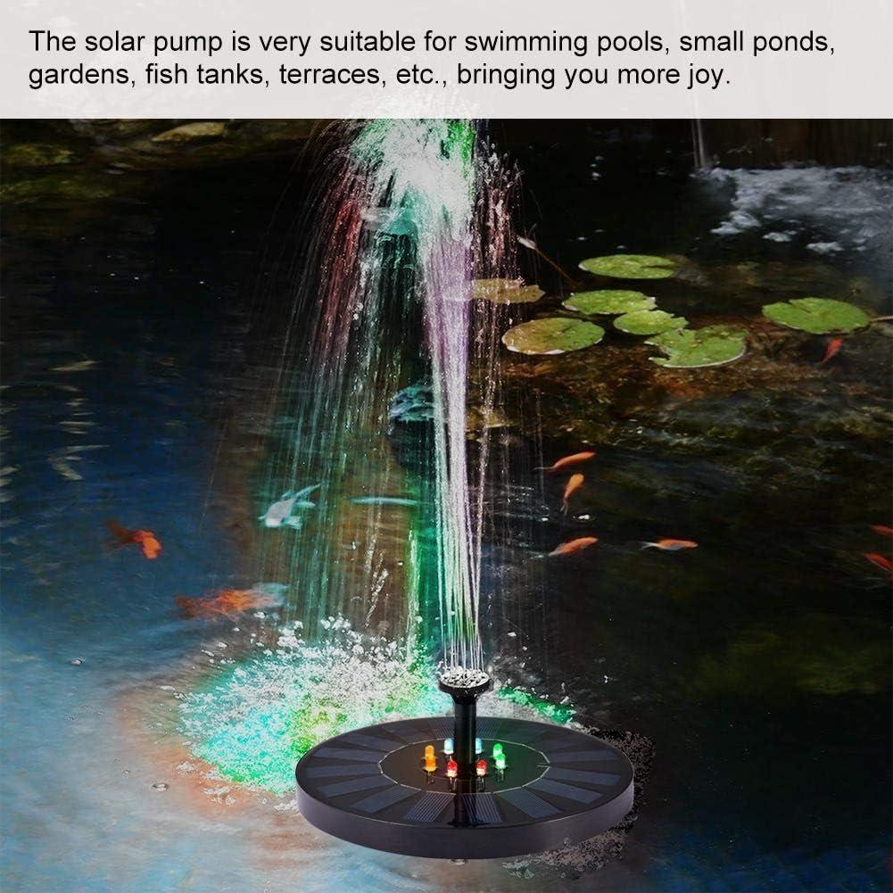 Pictury Solarpumpe , Solarbetriebene Springbrunnenpumpe , Stabiler schwimmender LED-Springbrunnen mit automatischem Farbwechsel f/ür den Gartenteich-Pool
