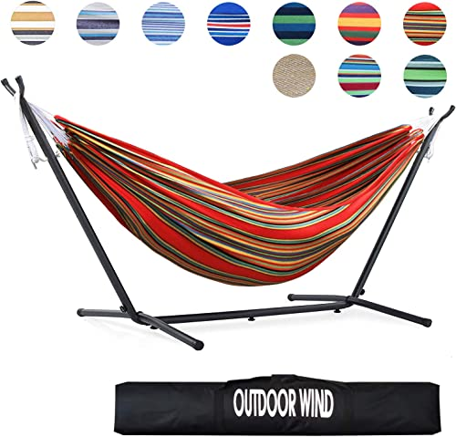 OUTDOOR WIND 550lbs Capacity Double Hammock Adjustable Hammock Bed with 10ft Heavy Duty Steel Stand Includes Portable Carrying Case, Easy Set up