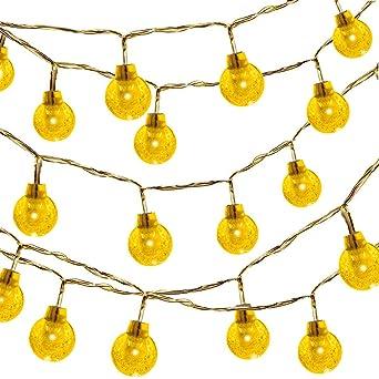 Eatpow Guirlande lumineuse à 50 ampoules globes LED, couleur chaude ...