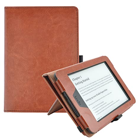 Tsuiwah Case For Kindle Paperwhite Vegan Leather Hand Strap Stand Protective Cover Cases For Amazon Kindle Paperwhite With Auto Sleep Wake Fits All