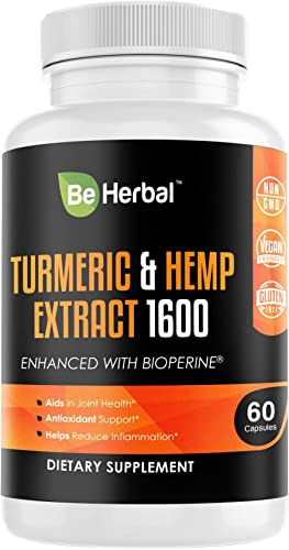 BE HERBAL Turmeric Curcumin with Hemp Oil Extract and Bioperine 1600mg. Joint Pain Relief, Anti Inflammatory, Anti Anxiety, Stress and Sleep Support Supplement with 95 Curcuminoids and Black Pepper