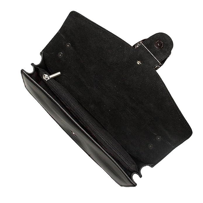 1a1084134a #MYITALIANBAG RONDA CUIR LISSE métallisé Sac à main Baguette Pochette, sac  à bandoulière avec chaîne en nickel foncé fermeture accessoire, cuir lisse  et ...