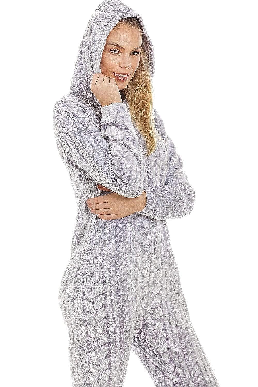 Gris Camille Combinaison Pyjama en Polaire tr/ès Douce Capuche//Fermeture /Éclair Motif tress/é