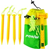 Poray Tent Stakes Kit With ABS Pegs and Hammer & 4 Reflective ropes Into a Carrying Mesh Bag
