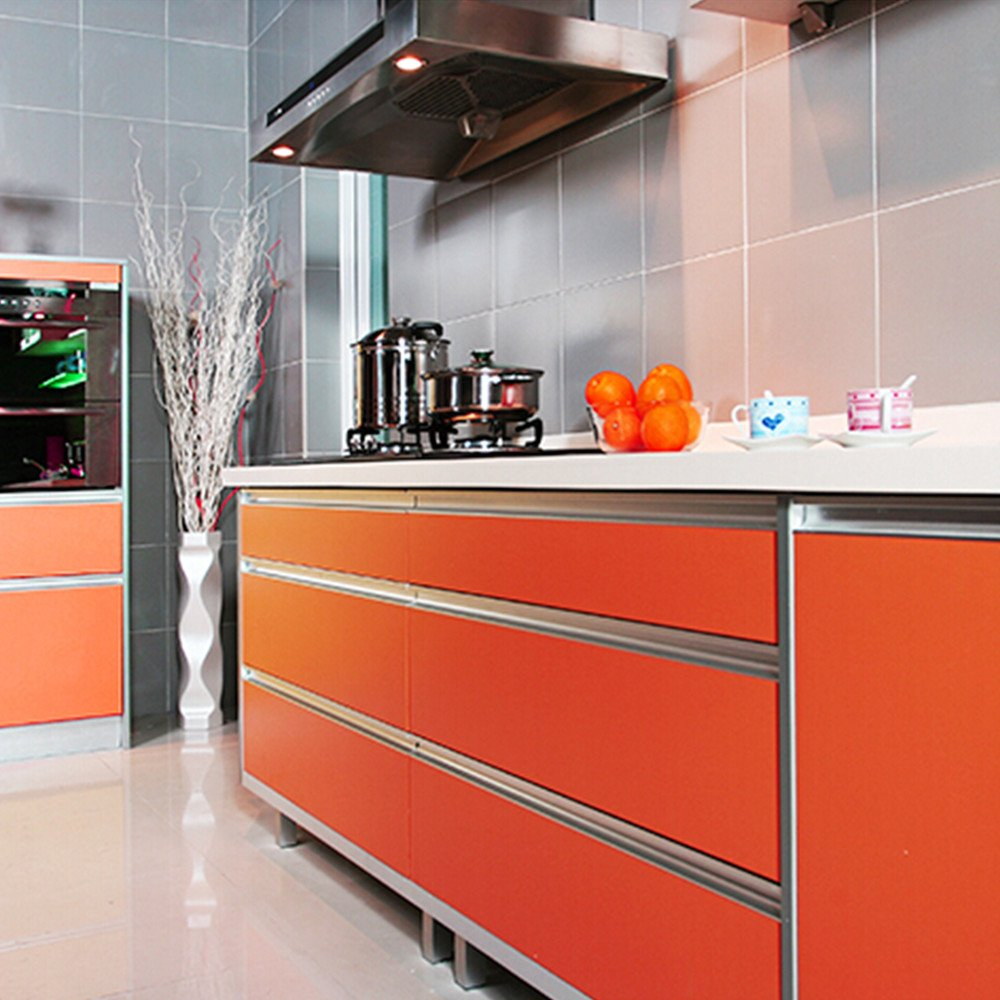 yazi Drawer Wardrobe Shelf Liner Gloss Self Adhesive PVC Kitchen Cupboard Door Cover ,24x98 Inch,Orange