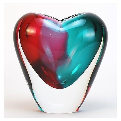 Amazon Vases Murano Glass Heart Vase 7h Aquaruby