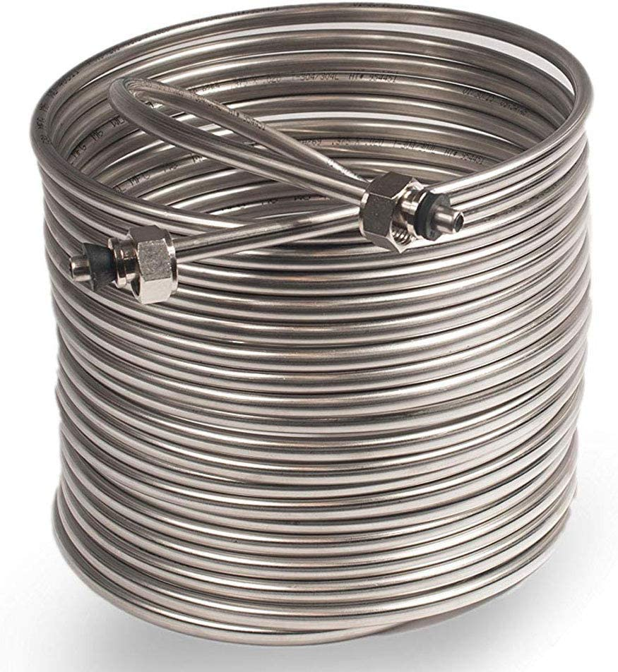 NY Brew Supply Jockey Box Coil 3/8-inch 50' Stainless Steel Tubing with Fittings