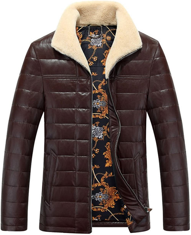 Jinmen Mens Lapel High-Grade Pu Leather Down Jacket Coat