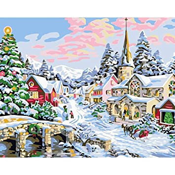 Christmas Paintings For Kids.Amazon Com Diy Oil Painting Paint By Number Kit For Adults
