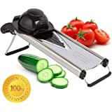 Zcutt V-blade Mandoline Slicer--SALE-- Stainless Steel Design with 5 Interchangeable Blade Inserts for Slicing Rounds, French Fries, Juilienne Sticks and More. Includes Safrety Grip.