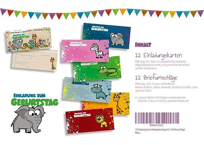 Set: 12 Einladungskarten Kindergeburtstag U201eSafariu201c (inkl. 12 Briefumschläge  Mit Unterschiedlichen Tieren) | Geburtstagseinladungen Einladungen  Geburtstag ...