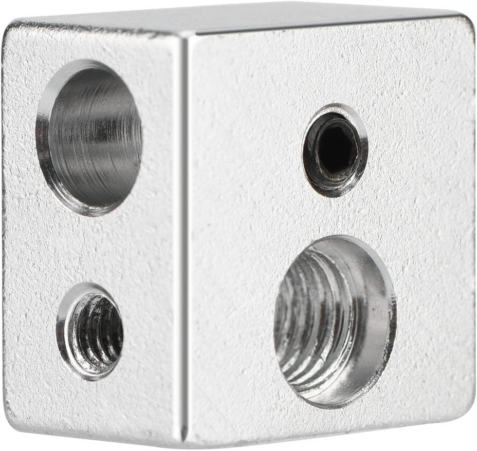 Richer-R ASHATA 3D Printer Heater Block,20x20x13mm Aluminum MK10 Extruder Hotend Heater Block M7 Thread Heatbreak for Most 3D Printer,Super Durability and Good Performance