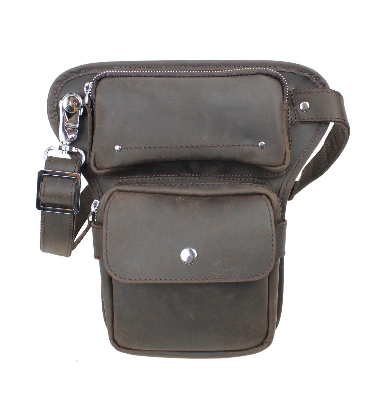 Vagabond Traveler Full Grain Leather Waist Leg Sport Bag LW10 by Vagabond Traveler