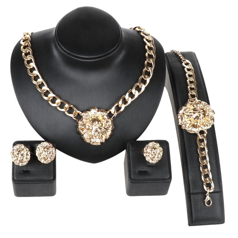 Gold/Silver Plated Lion Head Chain Statement Necklace Bracelet Earring Ring Jewelry Set (Gold) by WANG (Image #1)
