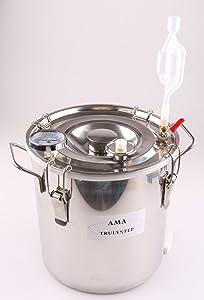 Spare Parts for Moonshine Still/Home Distiller: Stainless Fermenter Pot Boiler & Thermometer & Airlock (fit 2 Pots Distiller, 2 Gallon 10 Litres)